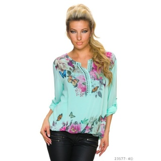 SWEET KIMONO SHIRT MADE OF CHIFFON WITH FLORAL PATTERN TURQUOISE