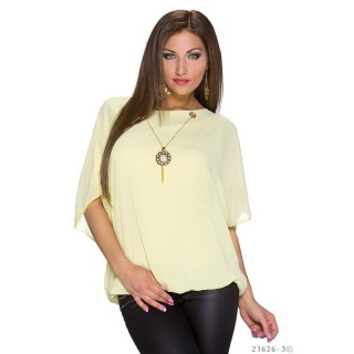 TRENDY SHORT-SLEEVED CHIFFON SHIRT WITH GOLD-COLOURED CHAIN YELLOW