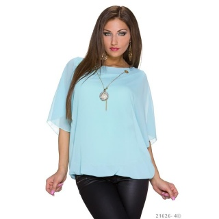 TRENDY SHORT-SLEEVED CHIFFON SHIRT WITH GOLD-COLOURED CHAIN MINT GREEN