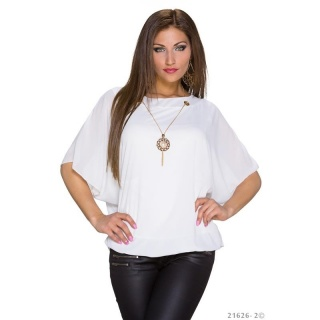 TRENDY SHORT-SLEEVED CHIFFON SHIRT WITH GOLD-COLOURED CHAIN WHITE