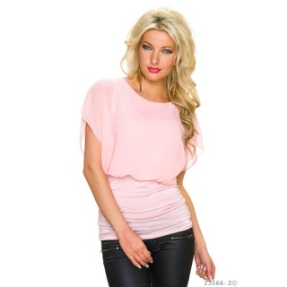 SWEET SHORT-SLEEVED CHIFFON SHIRT WITH CHAIN AT THE BACK PINK