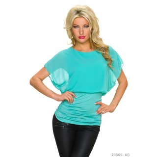 SWEET SHORT-SLEEVED CHIFFON SHIRT WITH CHAIN AT THE BACK TURQUOISE