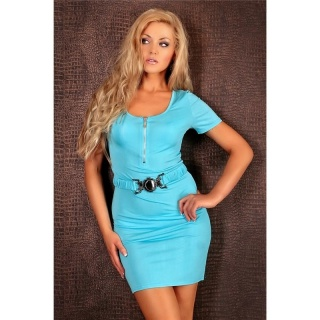 SWEET MINIDRESS WITH BELT ZIPPER TURQUOISE