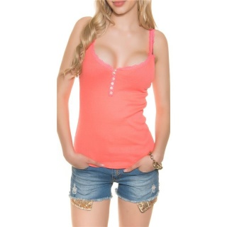 SWEET RIB-KNITTED STRAPPY TOP WITH LACE AND BUTTONS CORAL