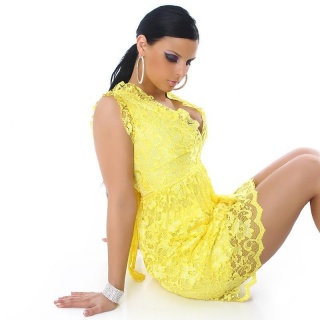 ELEGANT SUMMER DRESS MADE OF LACE YELLOW