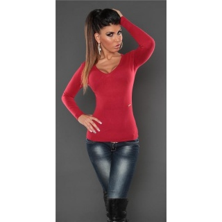 SUPER SOFT FINE-KNITTED SWEATER WITH V-NECK RED