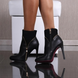 SEXY ANKLE BOOTS HIGH HEELS MADE OF VELVET AND IMITATION LEATHER BLACK