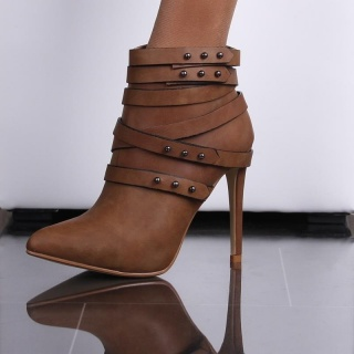 SEXY ANKLE BOOTS HIGH HEELS ARTIFICAL LEATHER WITH RIVETS CAMEL