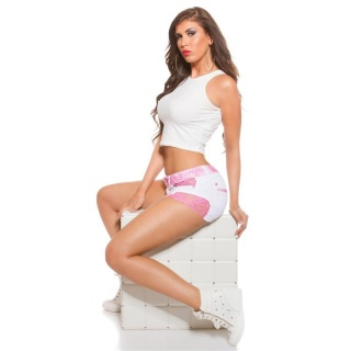 ULTRA SEXY JEANS HOTPANTS WITH LACE AND FRAYED HEM WHITE/FUCHSIA