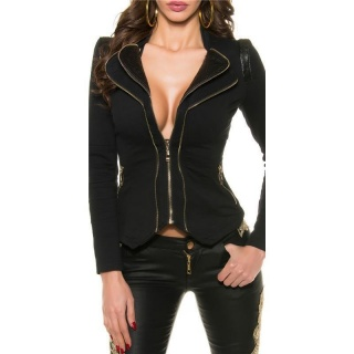 WAISTED SWEAT BLAZER STRETCH-JACKET WITH ZIPPER BLACK