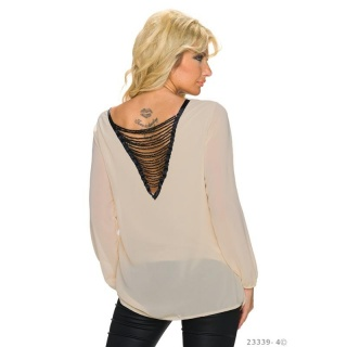 TRANSPARENT CHIFFON BLOUSE WITH CHAINS AT THE BACK BEIGE