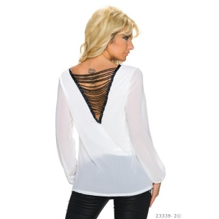 TRANSPARENT CHIFFON BLOUSE WITH CHAINS AT THE BACK WHITE