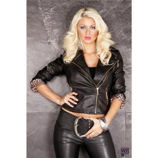 SEXY BIKER JACKET IN LEATHER-LOOK WITH ZIPPER BLACK