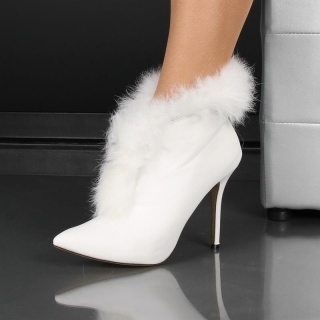 DREAMLIKE ANKLE BOOTS SHOES WITH FAKE FUR WHITE