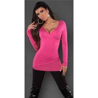 DREAMLIKE FINE-KNITTED SWEATER WITH RIVETS FUCHSIA