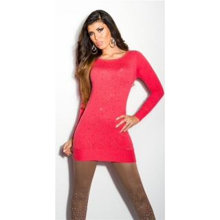 DIVINE FINE-KNITTED SWEATER WITH GLITTER AND RHINESTONES CORAL