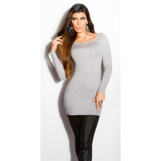 DIVINE FINE-KNITTED SWEATER WITH GLITTER AND RHINESTONES GREY