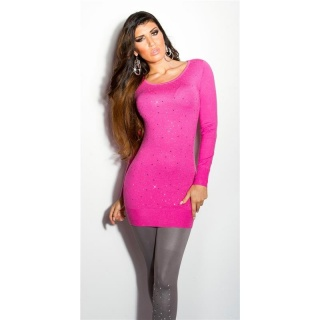DIVINE FINE-KNITTED SWEATER WITH GLITTER AND RHINESTONES FUCHSIA
