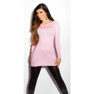 DIVINE FINE-KNITTED SWEATER WITH GLITTER AND RHINESTONES PINK