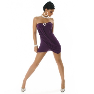PRECIOUS STRAPLESS MINIDRESS WITH RHINESTONES PURPLE