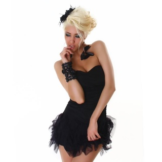 SEXY STRAPLESS MINIDRESS WITH TULLE BLACK