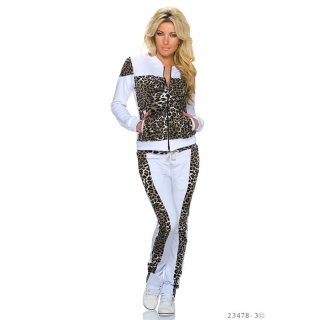 TRENDY CRAZY AGE JOGGING SUIT TRACKSUIT WHITE/LEO-BROWN