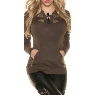TRENDY HOODIE SWEATER JUMPER WITH RHINESTONES CAPPUCCINO