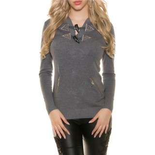 TRENDY HOODIE SWEATER JUMPER WITH RHINESTONES GREY
