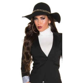 TRENDY FLOPPY HAT MADE OF WOOL WITH DECORATIVE CHAIN BLACK