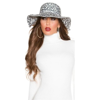 TRENDY FLOPPY HAT IN LEOPARD-LOOK WITH RIBBON LEO/WHITE