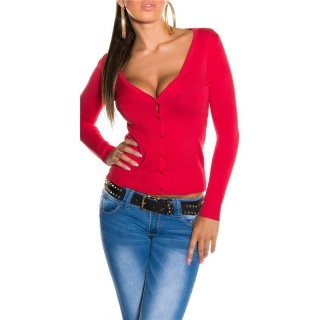 TRENDY CARDIGAN JERSEY JACKET STRAWBERRY RED