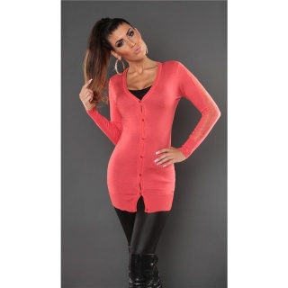 TRENDY FINE-KNITTED CARDIGAN JERSEY JACKET WITH LACE CORAL