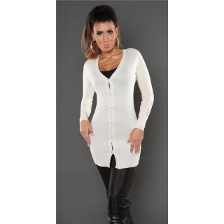 TRENDY FINE-KNITTED CARDIGAN JERSEY JACKET WITH LACE CREAM