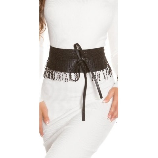 TRENDY IMITATION LEATHER WAIST BELT TO TIE WITH FRINGES BLACK
