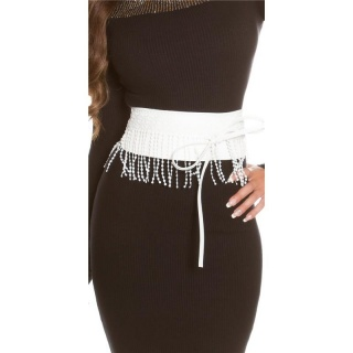 TRENDY IMITATION LEATHER WAIST BELT TO TIE WITH FRINGES WHITE