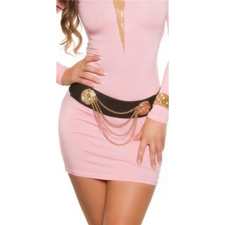 TRENDY STRETCH-BELT WITH GOLD-COLOURED CHAINS BLACK