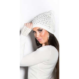 TRENDY WINTER CAP WITH POMPON AND RHINESTONES WHITE