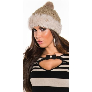 TRENDY KNITTED WINTER CAP WITH POMPON AND CUDDLY ANGORA FUR BEIGE