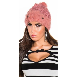 TRENDY KNITTED WINTER CAP WITH POMPON AND CUDDLY ANGORA FUR SALMON