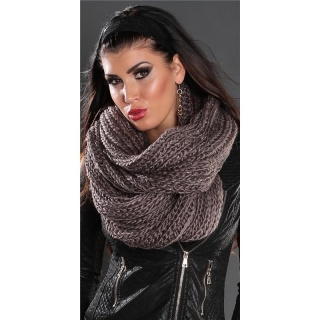 TRENDY XXL LOOP SCARF BLACK WITH GOLD EFFECTS CAPPUCCINO