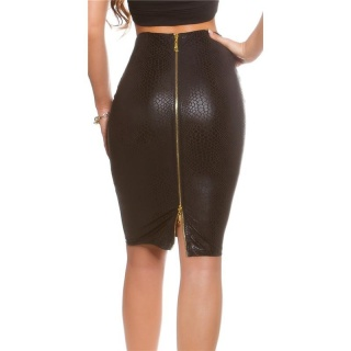 SEXY PENCIL SKIRT IN LEATHER-LOOK WITH 2-WAY-ZIPPER BLACK