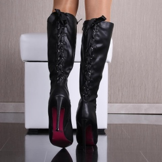 SEXY BOOTS HIGH HEELS MADE OF ARTIFICIAL LEATHER WITH LACING BLACK