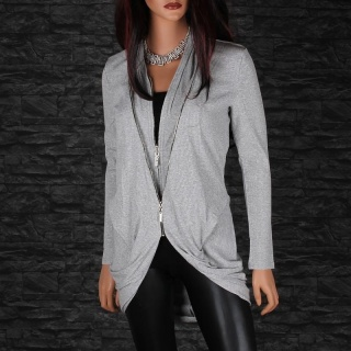 WARM RIB-KNITTED CARDIGAN LONG JACKET COAT WITH TWO ZIPPERS GREY