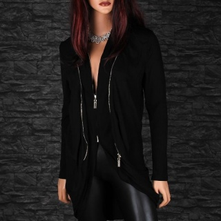 WARM RIB-KNITTED CARDIGAN LONG JACKET COAT WITH TWO ZIPPERS BLACK
