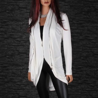 WARM RIB-KNITTED CARDIGAN LONG JACKET COAT WITH TWO ZIPPERS WHITE