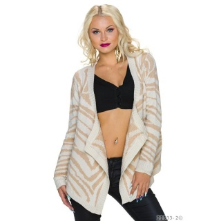 WARM CARDIGAN LONG JACKET WITH GLITTERING THREAD WHITE/BEIGE