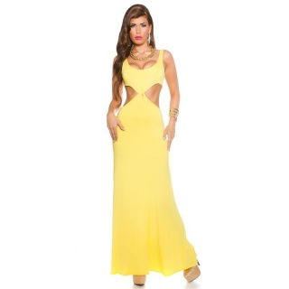 LONG GODDESS-LOOK MAXI EVENING DRESS WITH CUT-OUTS YELLOW