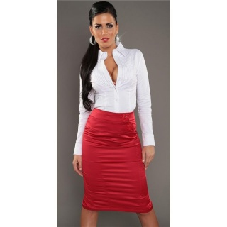 ELEGANT BUSINESS SATIN WAIST SKIRT WITH DECORATIVE BUTTONS RED