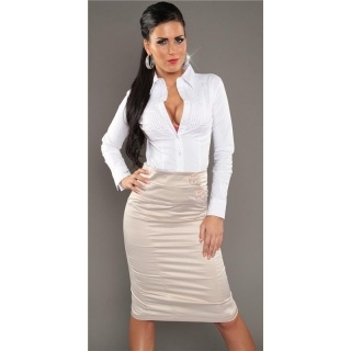 ELEGANT BUSINESS SATIN WAIST-SKIRT WITH DECORATING BUTTONS BEIGE