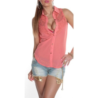 ELEGANT SLEEVELESS CHIFFON-BLOUSE WITH LACE TRANSPARENT CORAL